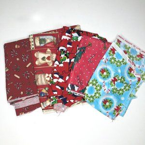 Lot of 5 Christmas Holiday Fabric Scraps